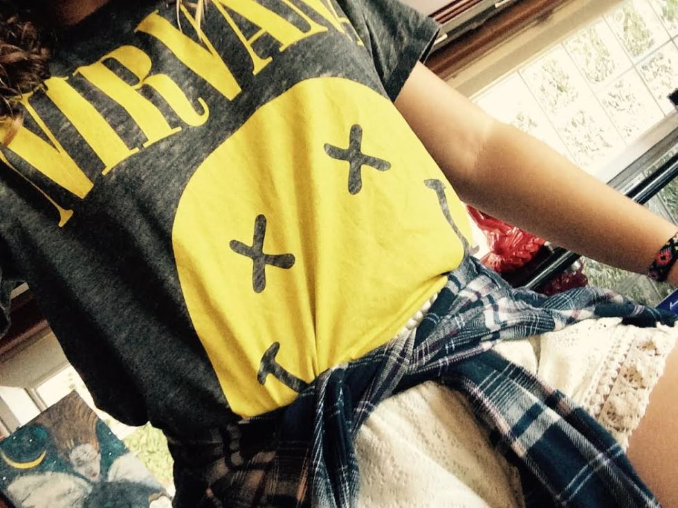 nirvana and plaid outfit